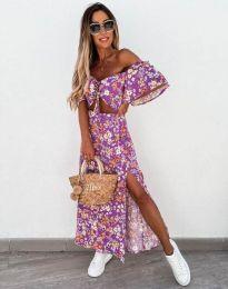 Дамска рокля в лилаво с флорален десен - код 6798