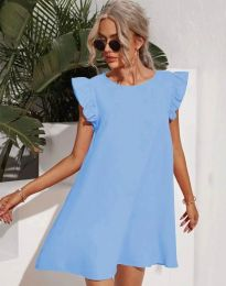 Къса дамска рокля в светлосиньо - код 6261