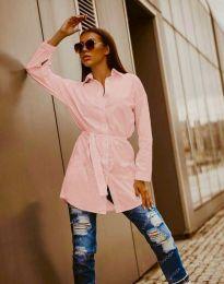 Дълга дамска риза в розово - код 6739