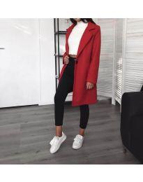 Дълго дамско палто в червено - код 950