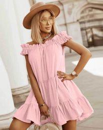 Свободна кокетна рокля в светлорозово - код 6969