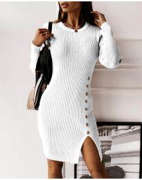 Стилна дамска рокля в бяло - код 3200