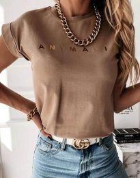 Дамска тениска в цвят капучино със златен надпис - код 4079