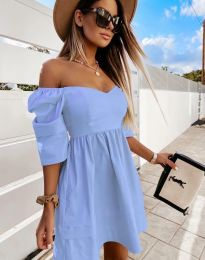 Дамска рокля с голи рамене в синьо - код 7413