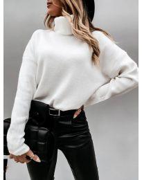 Дамска блуза с поло яка в бяло - код 7023