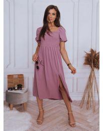 Свободна дамска рокля в цвят пудра - код 2117