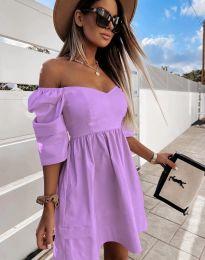 Дамска рокля с голи рамене в лилаво - код 7413