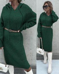 Изчистена дамска рокля в тъмнозелено - код 6449