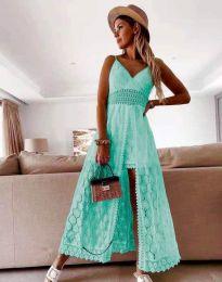 Дамска рокля с дантела в цвят тюркоаз - код 2704