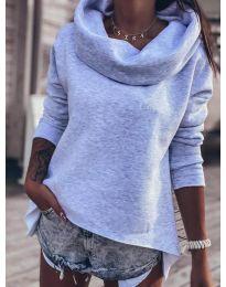 Блуза с ефектна яка в сиво - код 7878