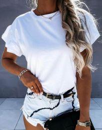 Дамска тениска с ефектни ръкави в бяло - код 4352