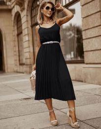 Кокетна плисирана рокля в черно - код 1249