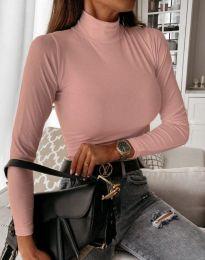 Дамска блуза с поло яка в цвят пудра - код 6087