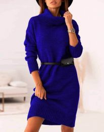 Дамска рокля  в синьо - код 0393