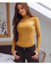 Дамска блуза с поло яка в цвят горчица - код 6323