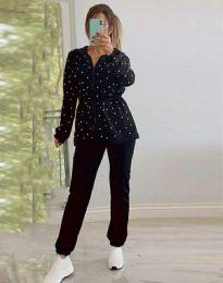 Дамски комплект с перли в черно - код 5038