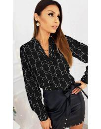 Черна дамска риза с флорални елементи без яка - код 819