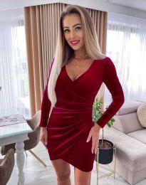 Стилна дамска рокля в цвят бордо - код 3872