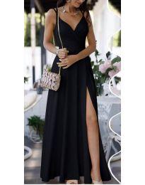 Елегантна дълга рокля в черно - код 8489