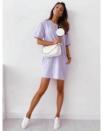 Изчистена рокля с джобове в лилаво - код 7236