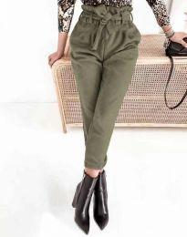 Стилен дамски панталон с висока талия в масленозелено - код 2837