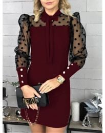 Елегантна рокля в цвят бордо - код 1081