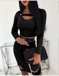 Дамски комплект от пола и блуза в черно - код 268
