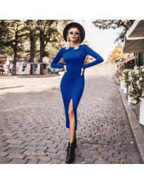 Стилна рокля по тялото с цепка в синьо - код 4177