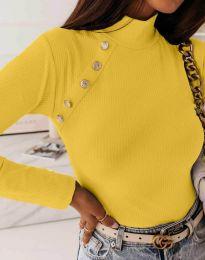 Дамска блуза с поло яка в жълто - код 5690