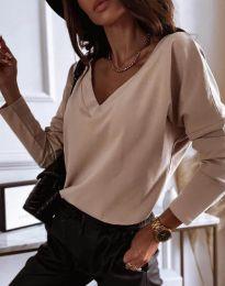 Атрактивна дамска блуза в бежово - код 12061