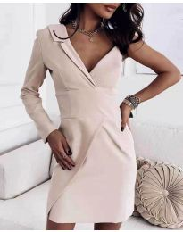 Елегантна рокля в бежово - код 7128