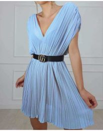 Изчистена рокля в цвят светло синьо - код 5670