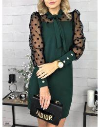 Елегантна рокля в тъмно зелено - код 1081