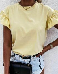 Дамска тениска с ефектни ръкави в светложълто - код 4352