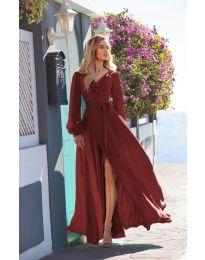Дълга рокля с цепка в  бордо - код 8477