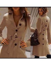 Стилно дамско палто с колан и копчета в бежово - код 788