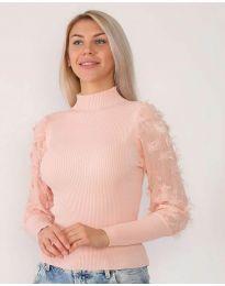 Блуза в розово с ефектни ръкави - код 7870