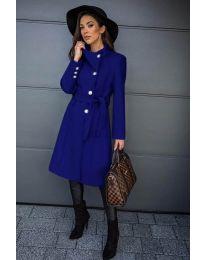 Дамско палто с колан в синьо - код 396