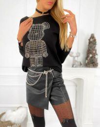 Дамска свободна блуза с щампа в черно - код 4960