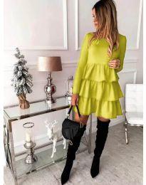 Стилна дамска рокля в неоново жълто - код 966