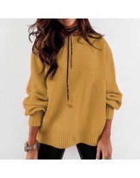 Дамски пуловер в цвят горчица - код 3345