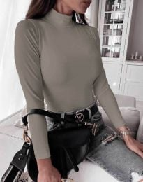 Дамска блуза с поло яка в сиво - код 6087