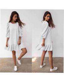 Свободна дамска рокля в бяло - код 784