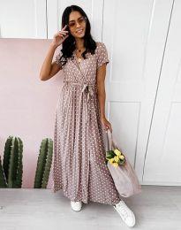 Ефирна дамска рокля на точки в цвят капучино - код 11725
