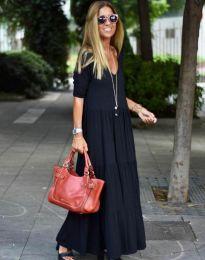 Дълга свободна рокля в черно - код 3444