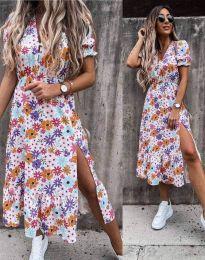 Дълга рокля с флорален десен - код 6213 - 1