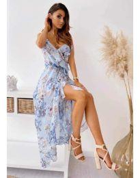 Феерична  рокля в бяло със сини мотиви - код 0021