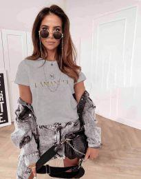 Атрактивна дамска тениска в сиво - код 4004