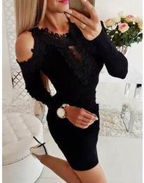 Елегантна рокля с бродерии в черно - код 568
