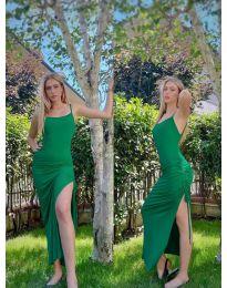 Атрактивна дълга рокля в зелено - код 7858